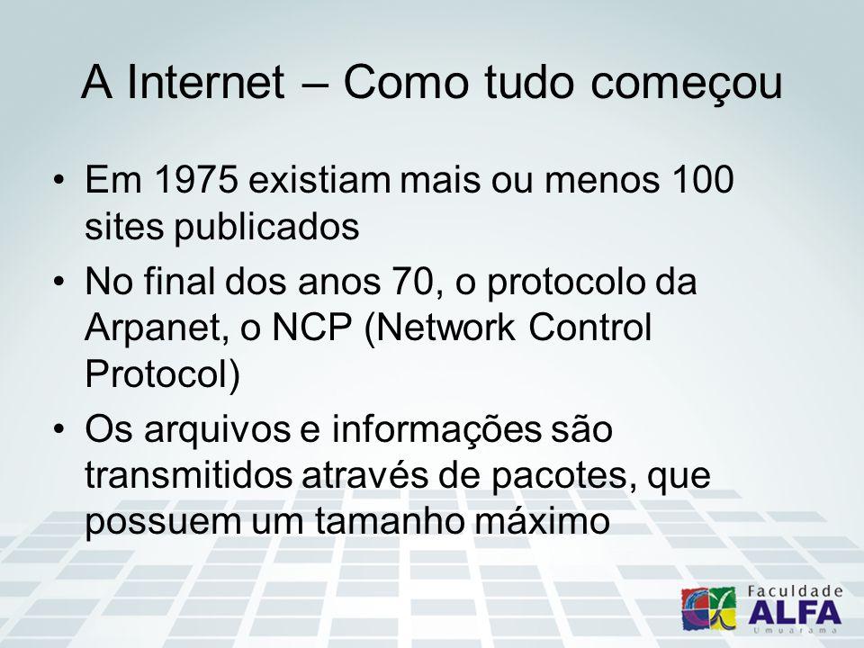 A Internet – Como tudo começou Em 1975 existiam mais ou menos 100 sites publicados No final dos anos 70, o protocolo da Arpanet, o NCP (Network Control Protocol) Os arquivos e informações são transmitidos através de pacotes, que possuem um tamanho máximo