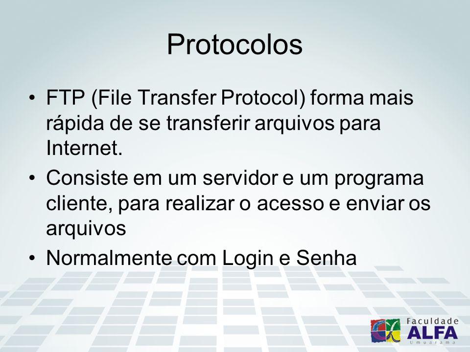 Protocolos FTP (File Transfer Protocol) forma mais rápida de se transferir arquivos para Internet.