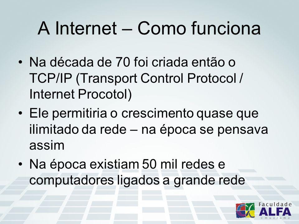 A Internet – Como funciona Na década de 70 foi criada então o TCP/IP (Transport Control Protocol / Internet Procotol) Ele permitiria o crescimento quase que ilimitado da rede – na época se pensava assim Na época existiam 50 mil redes e computadores ligados a grande rede
