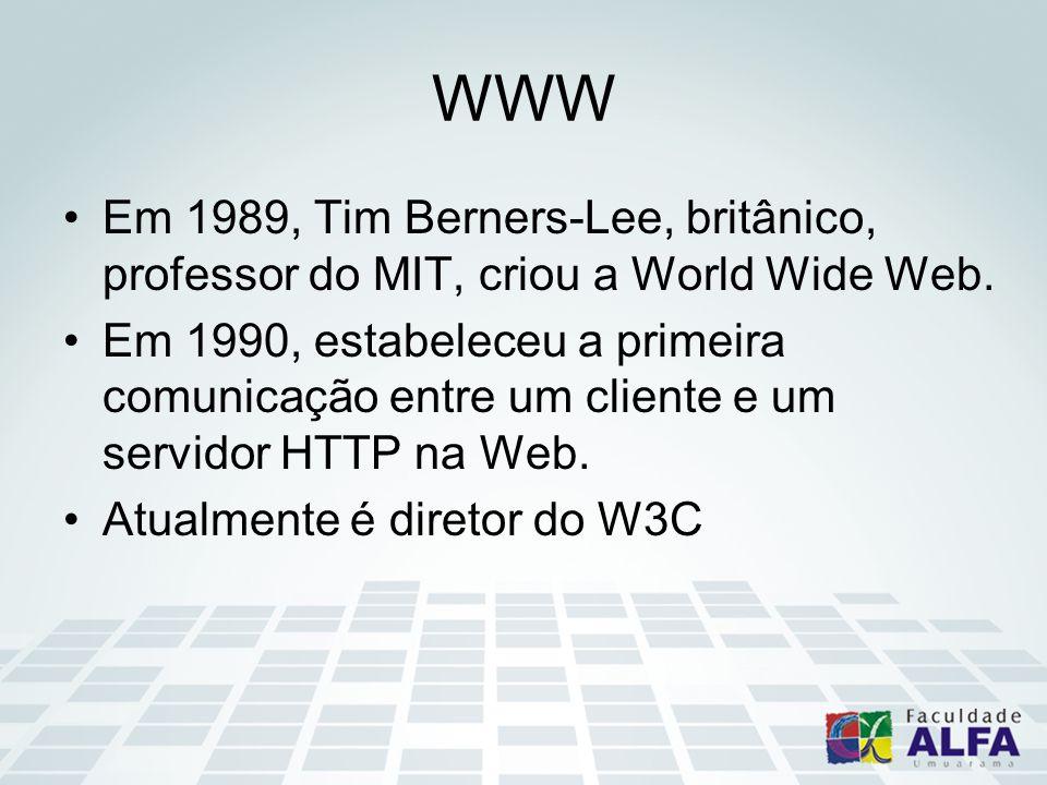 WWW Em 1989, Tim Berners-Lee, britânico, professor do MIT, criou a World Wide Web. Em 1990, estabeleceu a primeira comunicação entre um cliente e um s