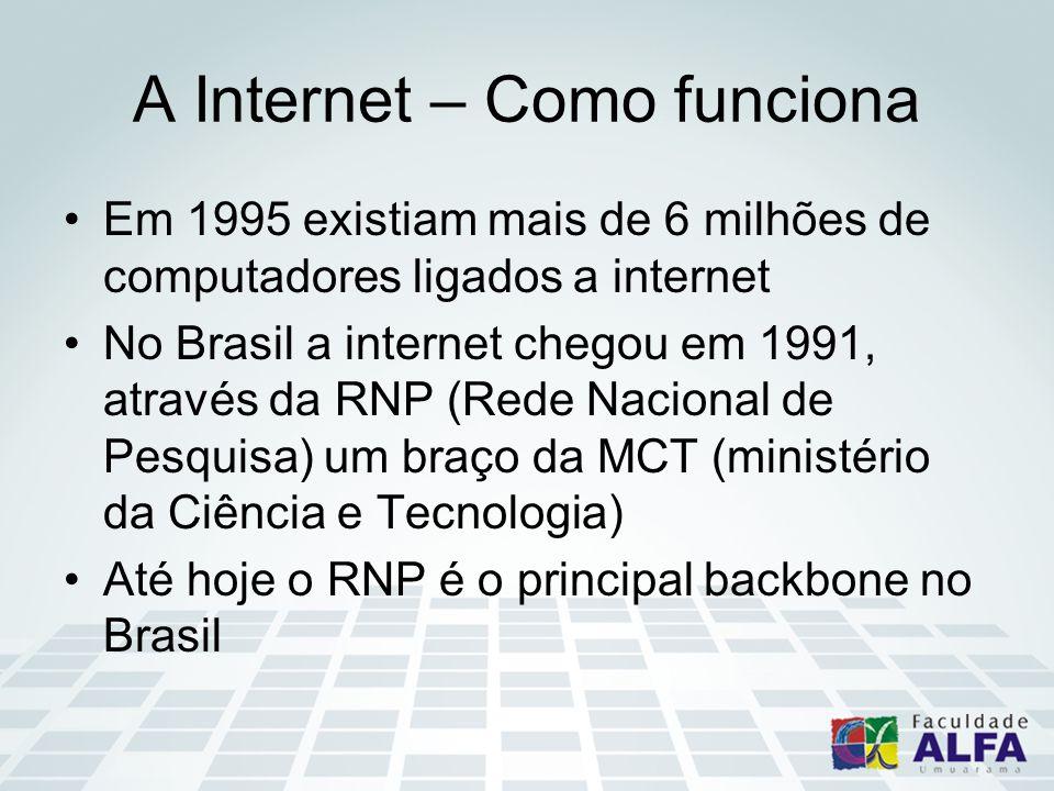 A Internet – Como funciona Em 1995 existiam mais de 6 milhões de computadores ligados a internet No Brasil a internet chegou em 1991, através da RNP (Rede Nacional de Pesquisa) um braço da MCT (ministério da Ciência e Tecnologia) Até hoje o RNP é o principal backbone no Brasil