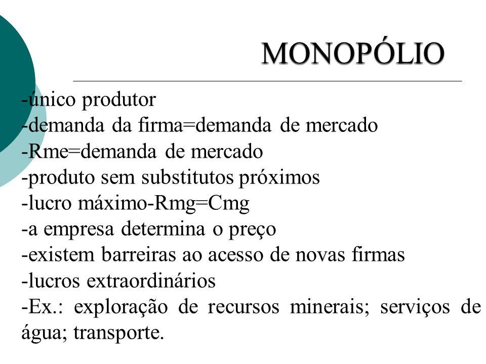 -único produtor -demanda da firma=demanda de mercado -Rme=demanda de mercado -produto sem substitutos próximos -lucro máximo-Rmg=Cmg -a empresa determ