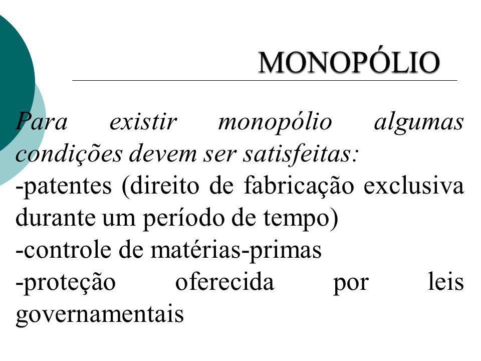 Para existir monopólio algumas condições devem ser satisfeitas: -patentes (direito de fabricação exclusiva durante um período de tempo) -controle de m