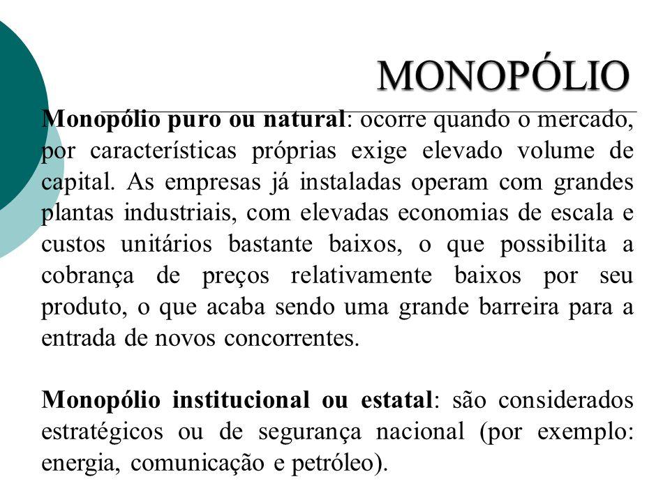 Monopólio puro ou natural: ocorre quando o mercado, por características próprias exige elevado volume de capital. As empresas já instaladas operam com