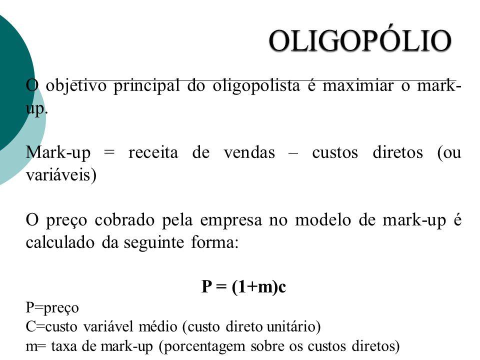 O objetivo principal do oligopolista é maximiar o mark- up. Mark-up = receita de vendas – custos diretos (ou variáveis) O preço cobrado pela empresa n