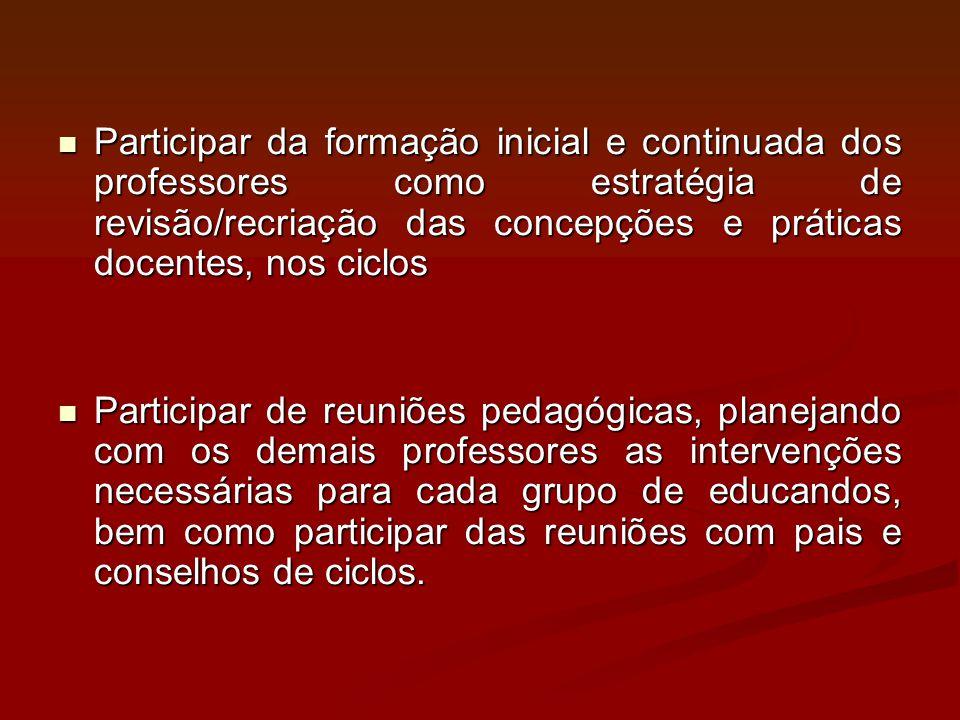 Participar da formação inicial e continuada dos professores como estratégia de revisão/recriação das concepções e práticas docentes, nos ciclos Partic