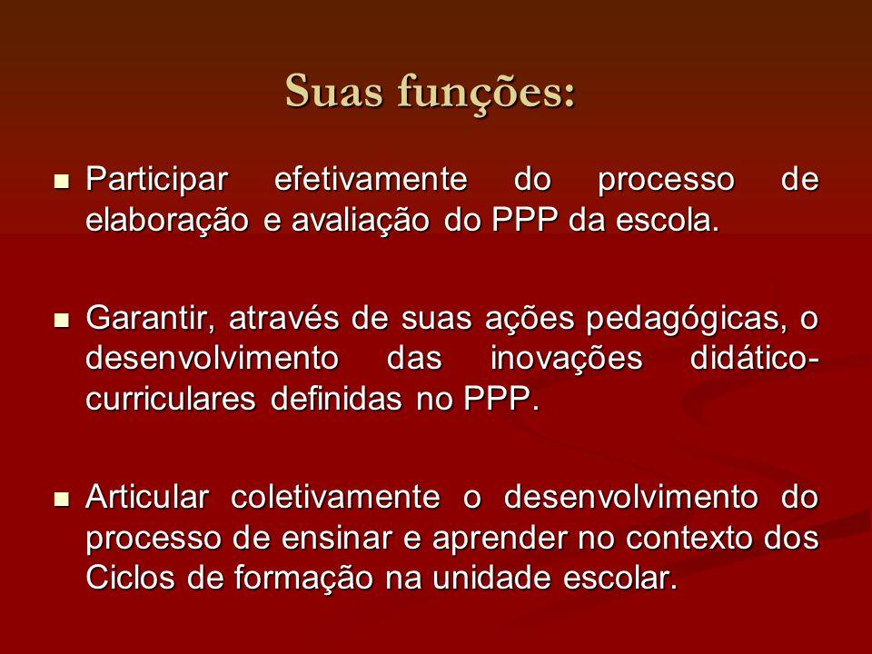 Suas funções: Participar efetivamente do processo de elaboração e avaliação do PPP da escola. Participar efetivamente do processo de elaboração e aval
