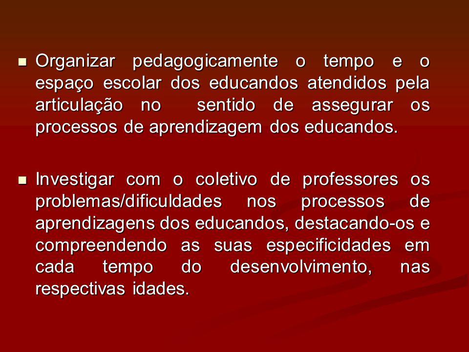 Organizar pedagogicamente o tempo e o espaço escolar dos educandos atendidos pela articulação no sentido de assegurar os processos de aprendizagem dos