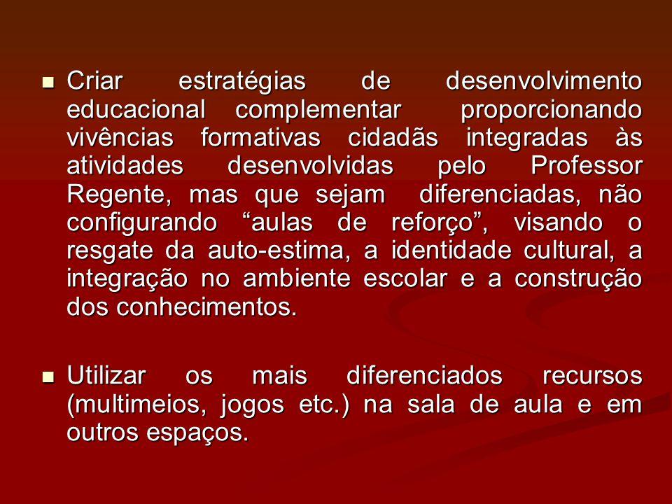 Criar estratégias de desenvolvimento educacional complementar proporcionando vivências formativas cidadãs integradas às atividades desenvolvidas pelo