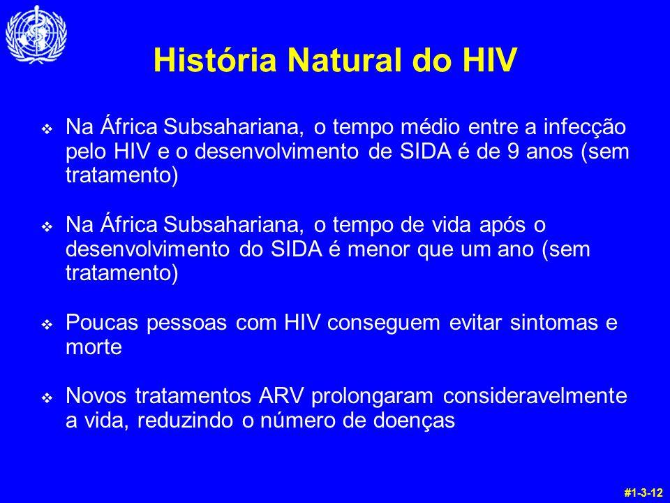 História Natural do HIV v Na África Subsahariana, o tempo médio entre a infecção pelo HIV e o desenvolvimento de SIDA é de 9 anos (sem tratamento) v N