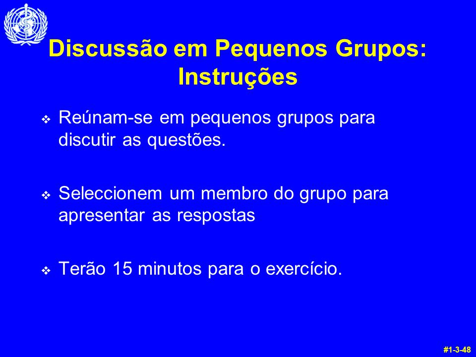 Discussão em Pequenos Grupos: Instruções v Reúnam-se em pequenos grupos para discutir as questões. v Seleccionem um membro do grupo para apresentar as