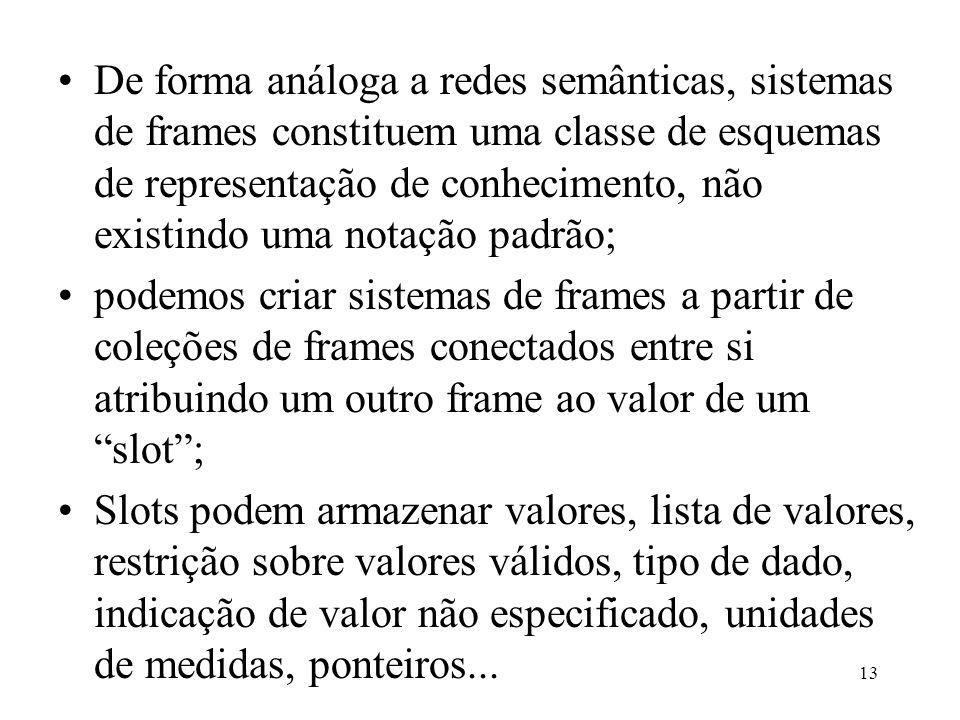 13 De forma análoga a redes semânticas, sistemas de frames constituem uma classe de esquemas de representação de conhecimento, não existindo uma notaç