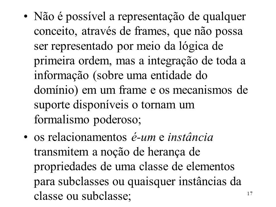 17 Não é possível a representação de qualquer conceito, através de frames, que não possa ser representado por meio da lógica de primeira ordem, mas a