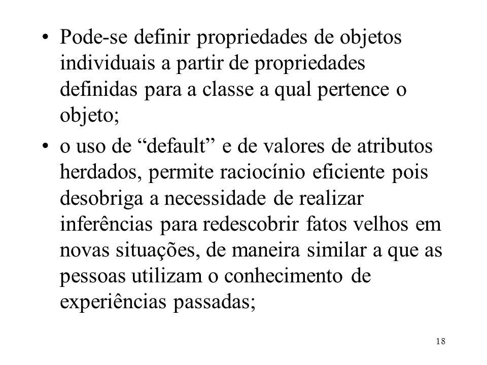 """18 Pode-se definir propriedades de objetos individuais a partir de propriedades definidas para a classe a qual pertence o objeto; o uso de """"default"""" e"""
