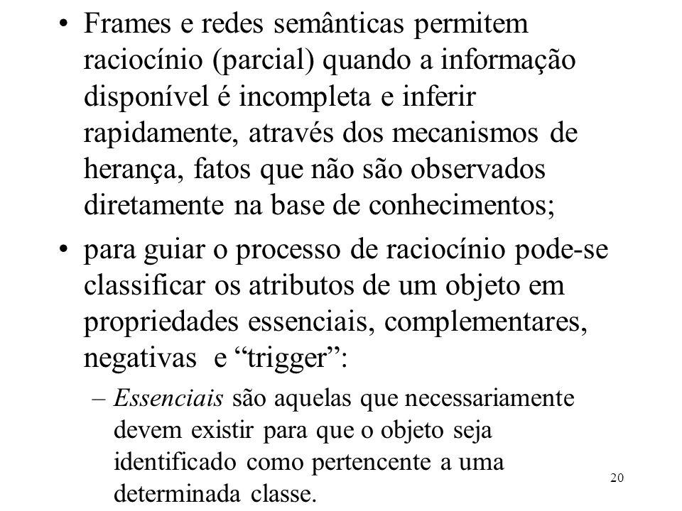 20 Frames e redes semânticas permitem raciocínio (parcial) quando a informação disponível é incompleta e inferir rapidamente, através dos mecanismos d