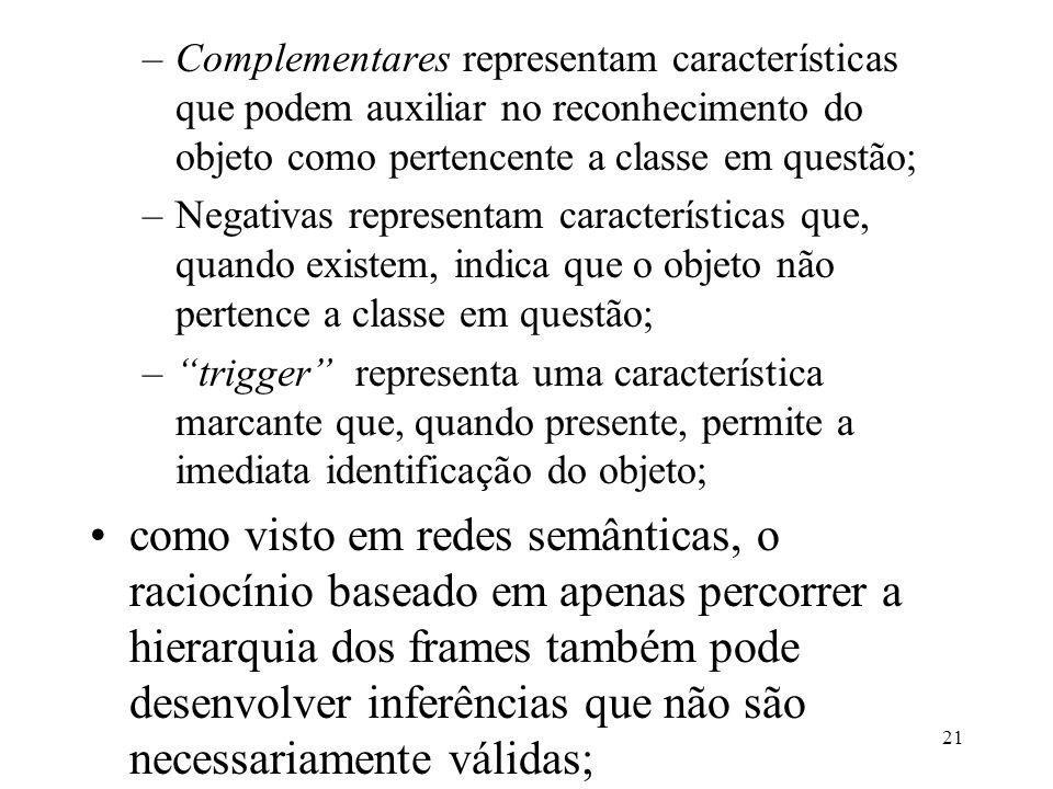 21 –Complementares representam características que podem auxiliar no reconhecimento do objeto como pertencente a classe em questão; –Negativas represe
