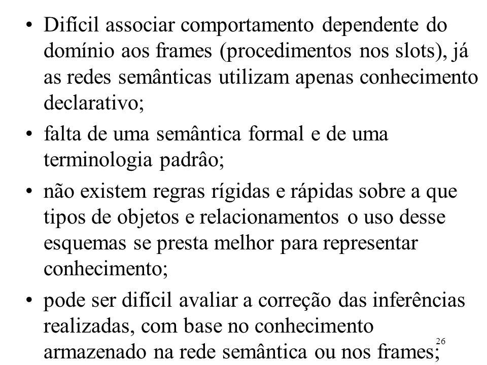 26 Difícil associar comportamento dependente do domínio aos frames (procedimentos nos slots), já as redes semânticas utilizam apenas conhecimento decl