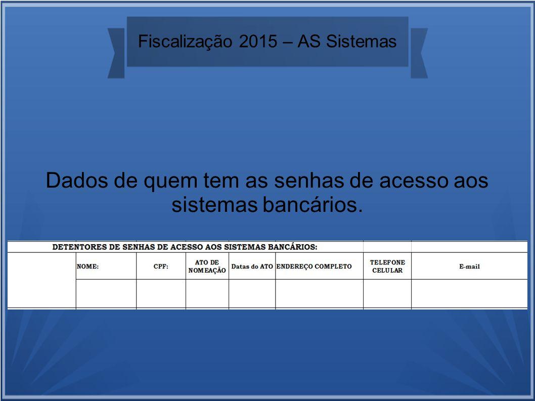 Fiscalização 2015 – AS Sistemas Dados de quem tem as senhas de acesso aos sistemas bancários.