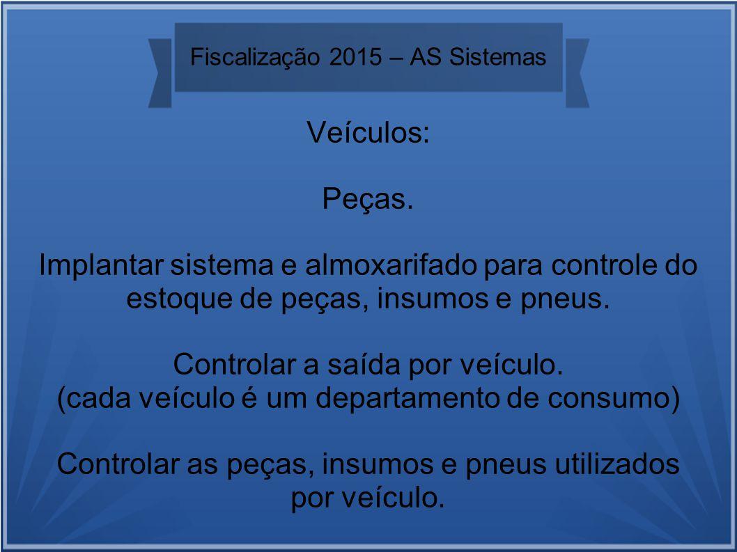 Fiscalização 2015 – AS Sistemas Veículos: Peças.