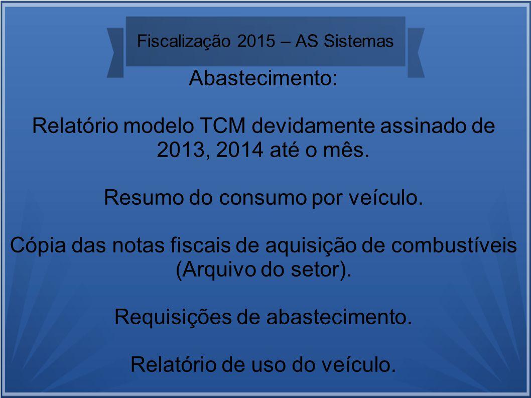 Fiscalização 2015 – AS Sistemas Abastecimento: Relatório modelo TCM devidamente assinado de 2013, 2014 até o mês.