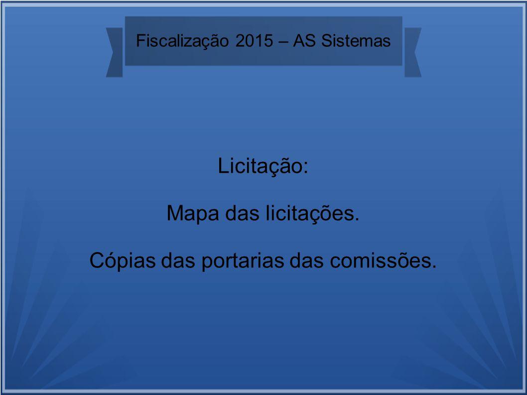 Fiscalização 2015 – AS Sistemas Licitação: Mapa das licitações. Cópias das portarias das comissões.