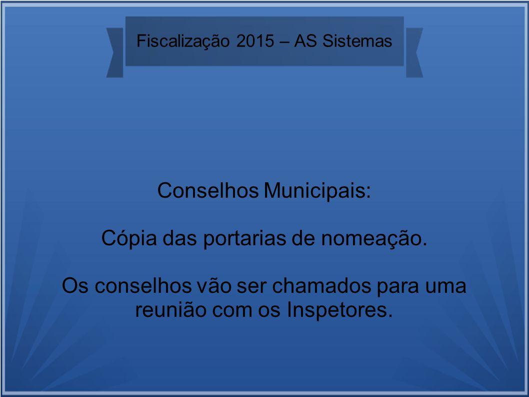 Fiscalização 2015 – AS Sistemas Conselhos Municipais: Cópia das portarias de nomeação.