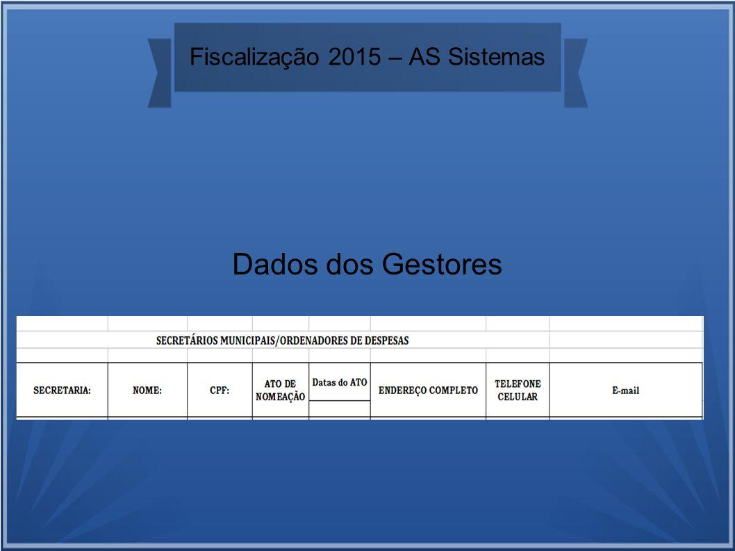 Fiscalização 2015 – AS Sistemas Dados dos Gestores