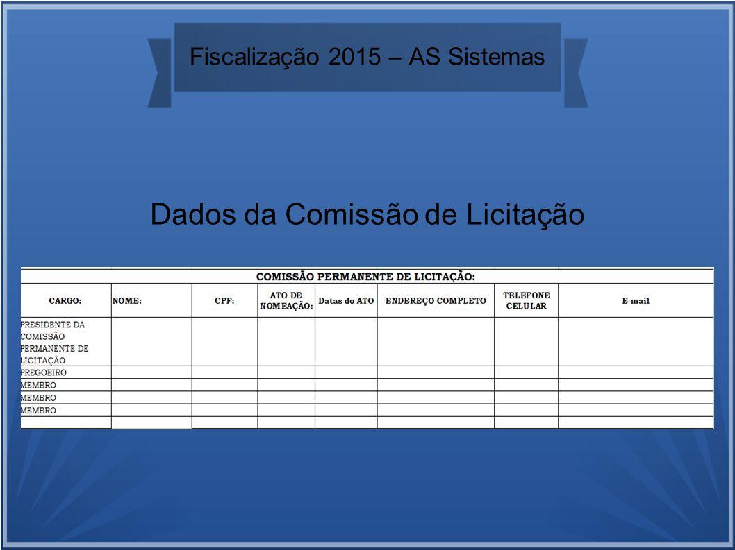 Fiscalização 2015 – AS Sistemas Dados da Comissão de Licitação