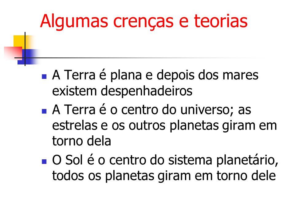 Algumas crenças e teorias A Terra é plana e depois dos mares existem despenhadeiros A Terra é o centro do universo; as estrelas e os outros planetas giram em torno dela O Sol é o centro do sistema planetário, todos os planetas giram em torno dele