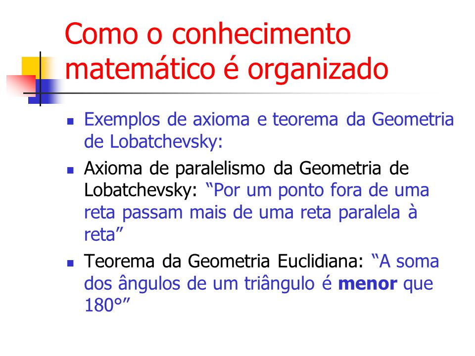 Como o conhecimento matemático é organizado Exemplos de axioma e teorema da Geometria de Lobatchevsky: Axioma de paralelismo da Geometria de Lobatchevsky: Por um ponto fora de uma reta passam mais de uma reta paralela à reta Teorema da Geometria Euclidiana: A soma dos ângulos de um triângulo é menor que 180°