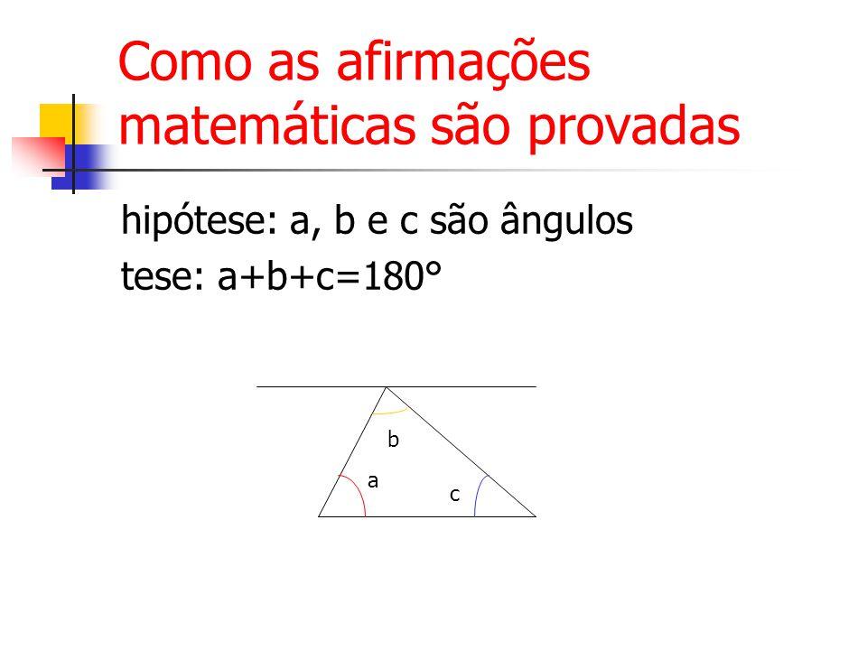 Como as afirmações matemáticas são provadas hipótese: a, b e c são ângulos tese: a+b+c=180° a b c