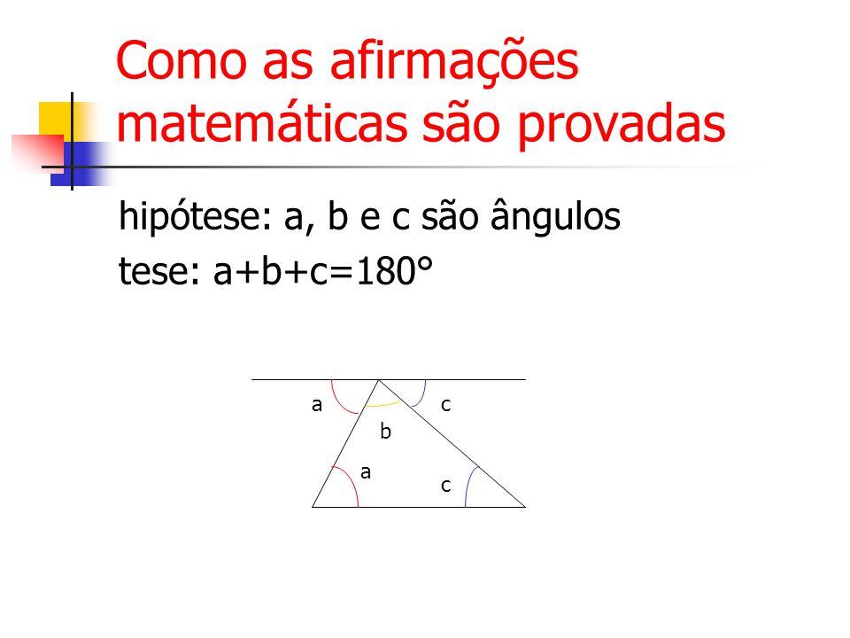 Como as afirmações matemáticas são provadas hipótese: a, b e c são ângulos tese: a+b+c=180° a a b c c
