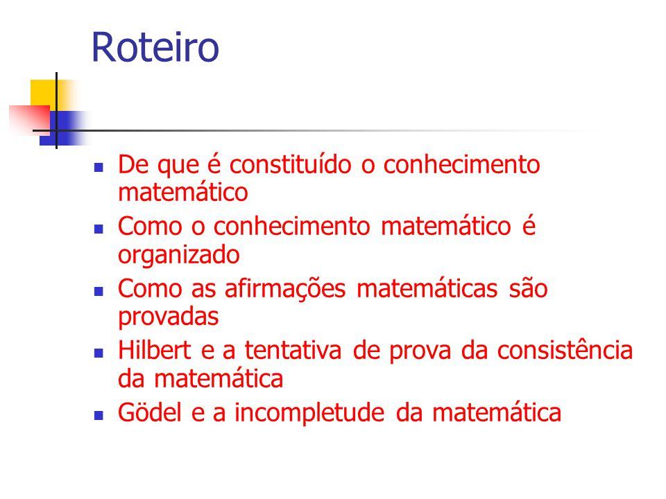 Roteiro De que é constituído o conhecimento matemático Como o conhecimento matemático é organizado Como as afirmações matemáticas são provadas Hilbert e a tentativa de prova da consistência da matemática Gödel e a incompletude da matemática