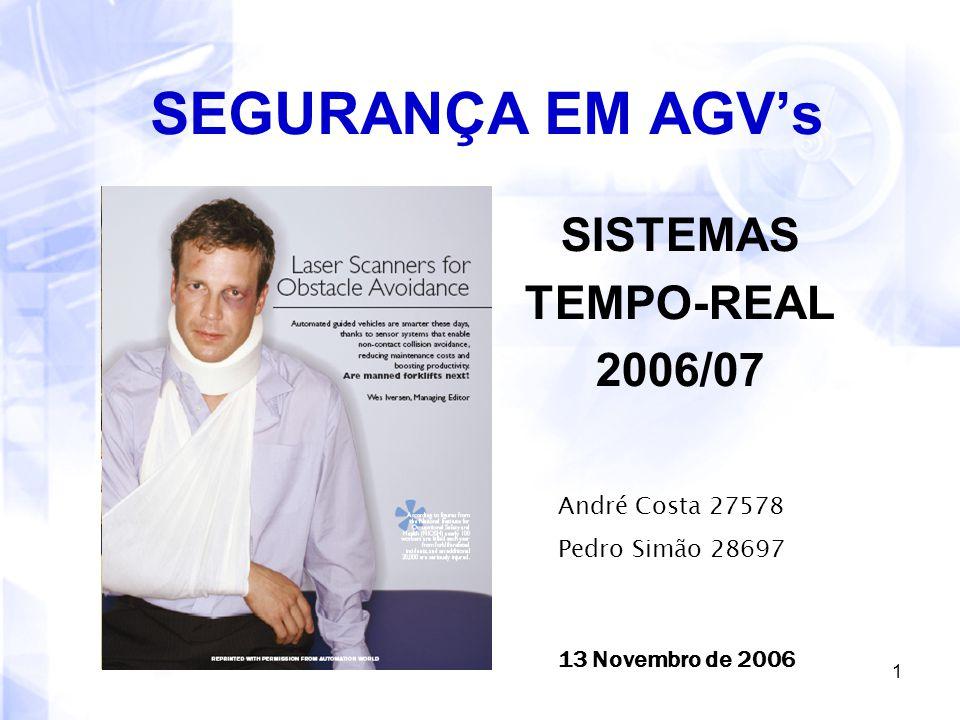 1 SEGURANÇA EM AGV's SISTEMAS TEMPO-REAL 2006/07 André Costa 27578 Pedro Simão 28697 13 Novembro de 2006