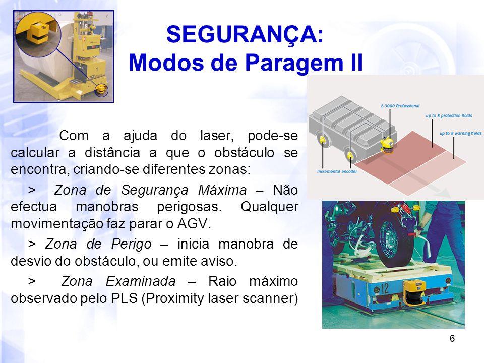 6 SEGURANÇA: Modos de Paragem II Com a ajuda do laser, pode-se calcular a distância a que o obstáculo se encontra, criando-se diferentes zonas: > Zona