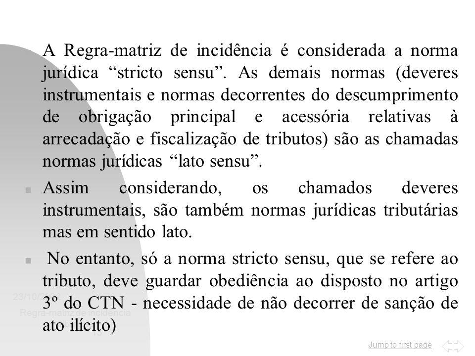 """Jump to first page 23/10/2002 Regra-matriz de incidência tributária 13 n A Regra-matriz de incidência é considerada a norma jurídica """"stricto sensu""""."""