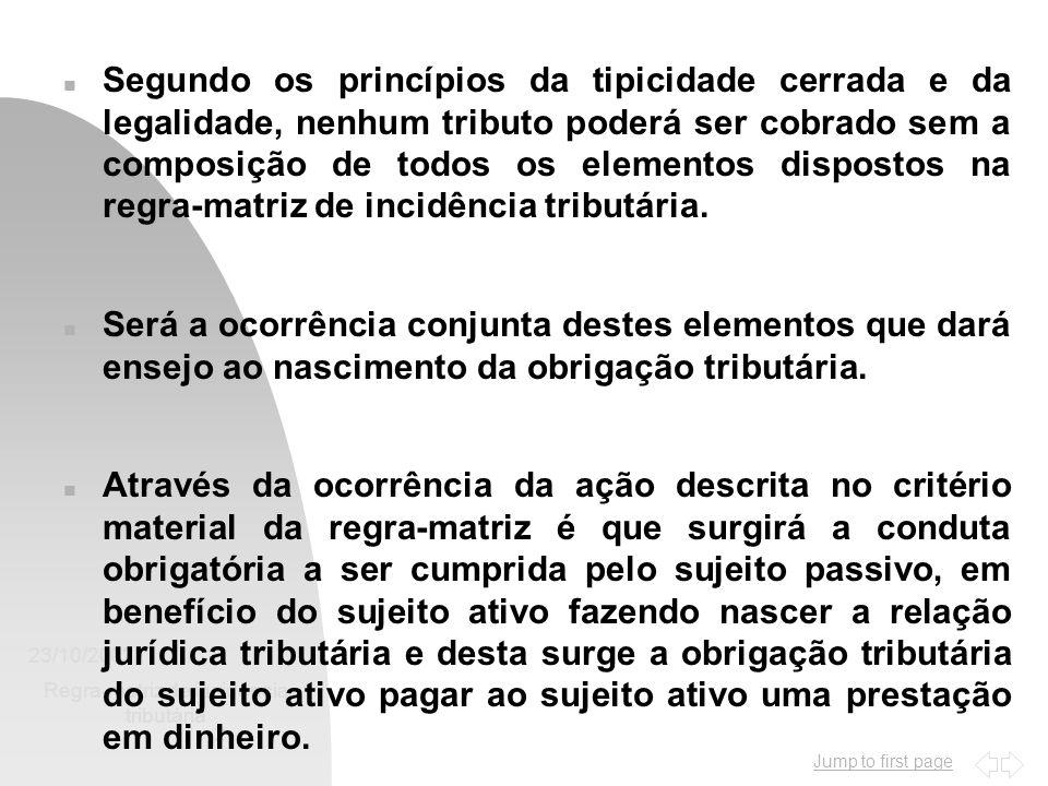 Jump to first page 23/10/2002 Regra-matriz de incidência tributária 2 n Segundo os princípios da tipicidade cerrada e da legalidade, nenhum tributo po