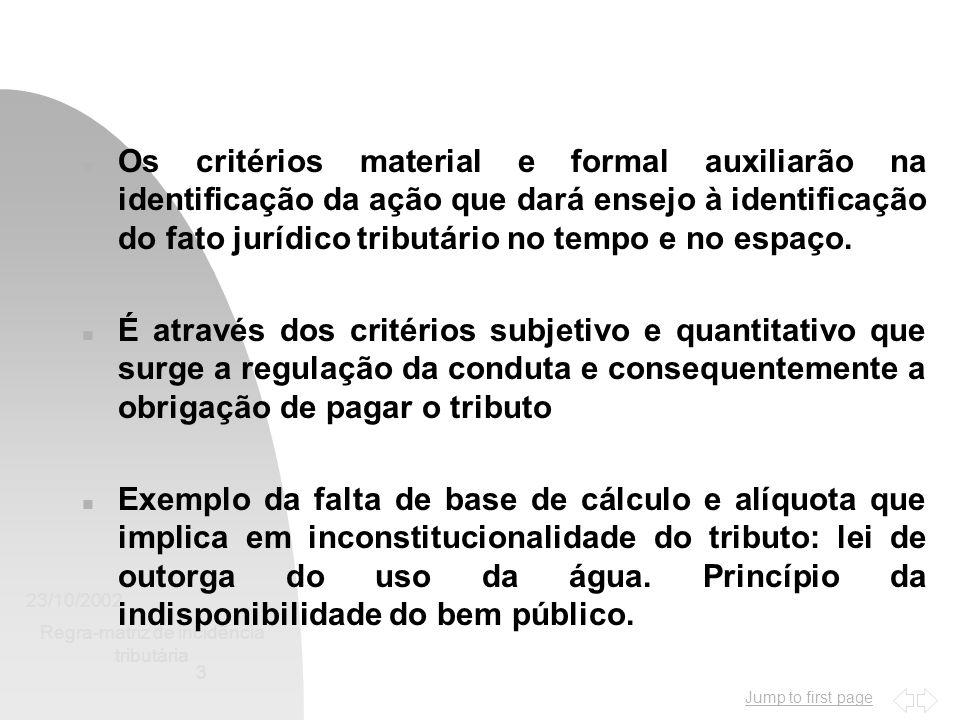 Jump to first page 23/10/2002 Regra-matriz de incidência tributária 3 n Os critérios material e formal auxiliarão na identificação da ação que dará ensejo à identificação do fato jurídico tributário no tempo e no espaço.