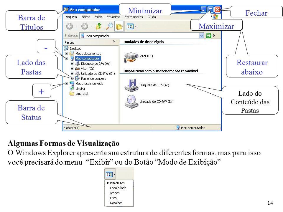 """14 Algumas Formas de Visualização O Windows Explorer apresenta sua estrutura de diferentes formas, mas para isso você precisará do menu """"Exibir"""" ou do"""