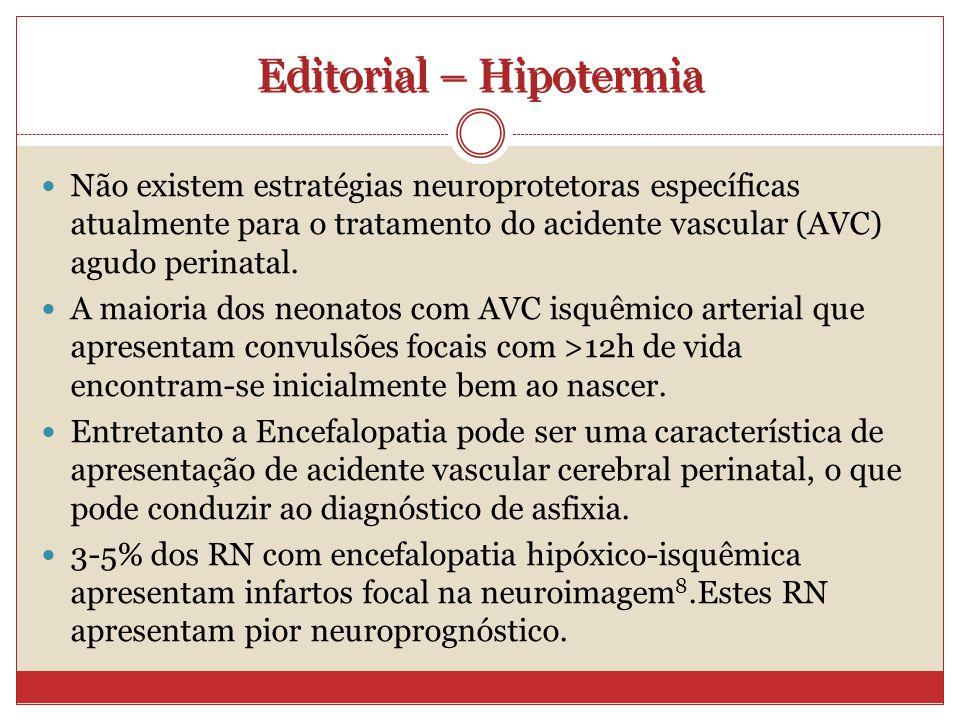 Editorial – Hipotermia Não existem estratégias neuroprotetoras específicas atualmente para o tratamento do acidente vascular (AVC) agudo perinatal.