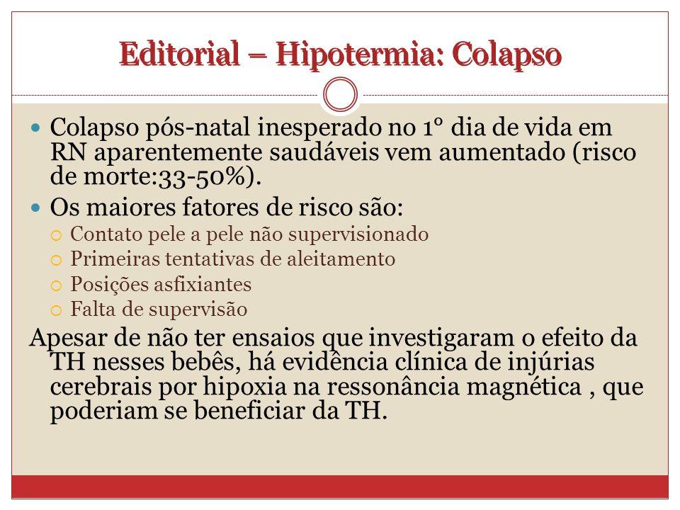Editorial – Hipotermia: Colapso Colapso pós-natal inesperado no 1° dia de vida em RN aparentemente saudáveis vem aumentado (risco de morte:33-50%).