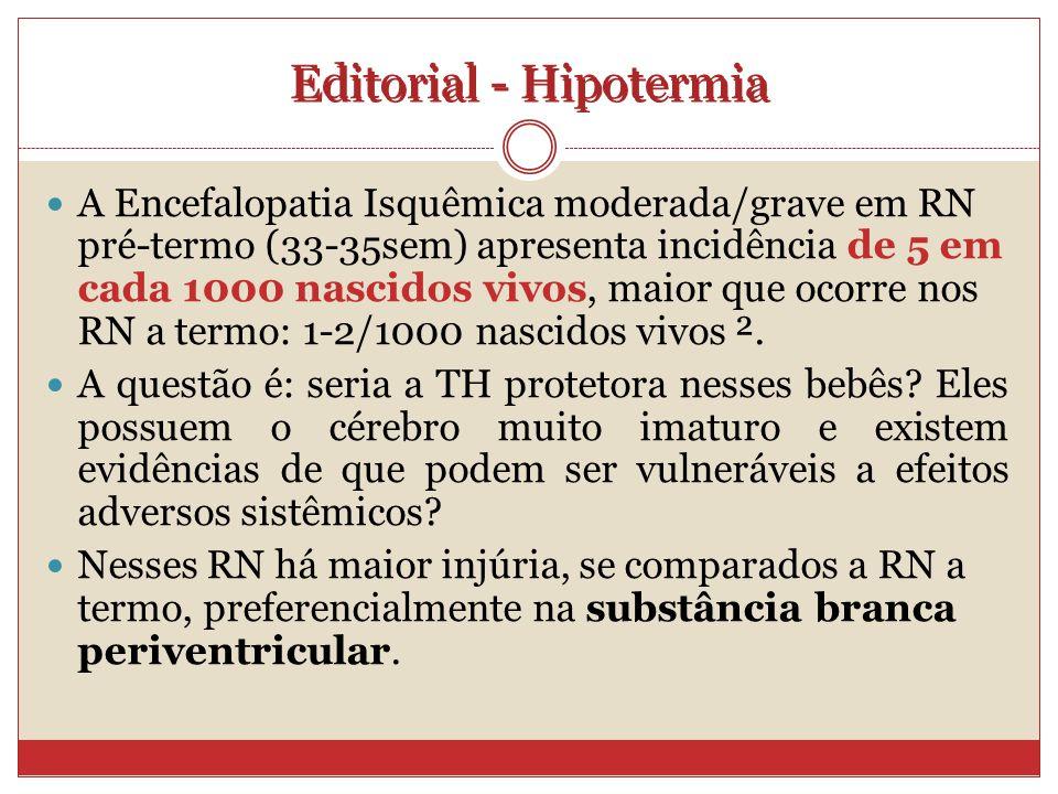 Editorial - Hipotermia A Encefalopatia Isquêmica moderada/grave em RN pré-termo (33-35sem) apresenta incidência de 5 em cada 1000 nascidos vivos, maior que ocorre nos RN a termo: 1-2/1000 nascidos vivos ².