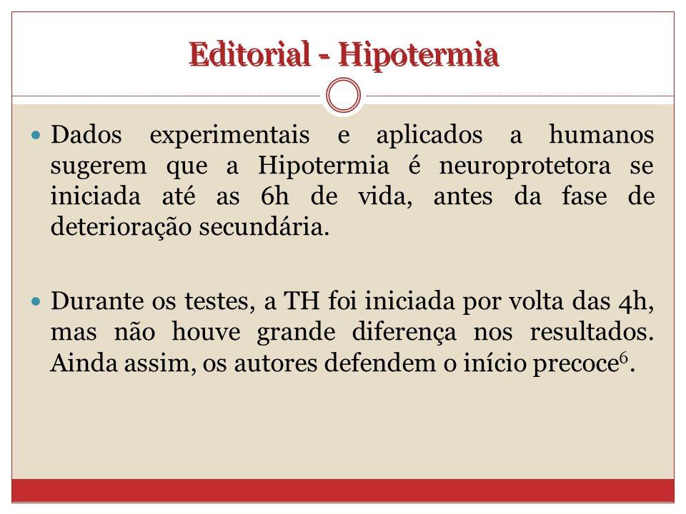 Dados experimentais e aplicados a humanos sugerem que a Hipotermia é neuroprotetora se iniciada até as 6h de vida, antes da fase de deterioração secundária.