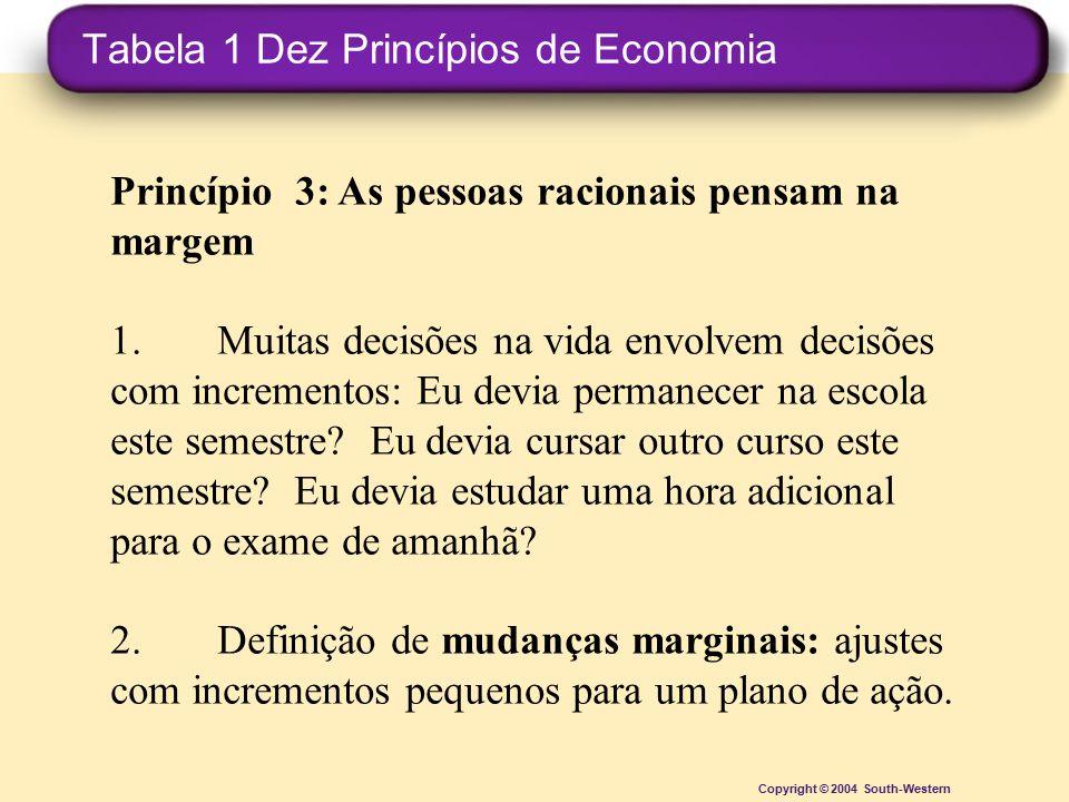 Tabela 1 Dez Princípios de Economia Copyright © 2004 South-Western Princípio 3: As pessoas racionais pensam na margem 1.Muitas decisões na vida envolv