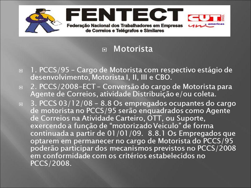  Motorista  1. PCCS/95 – Cargo de Motorista com respectivo estágio de desenvolvimento, Motorista I, II, III e CBO.  2. PCCS/2008-ECT – Conversão do