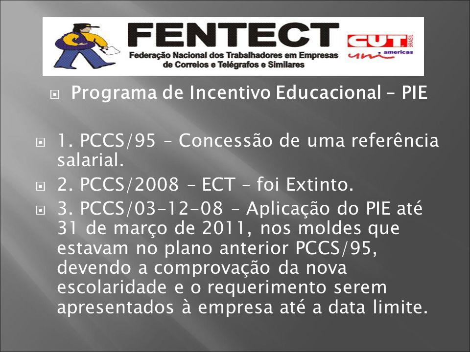  Programa de Incentivo Educacional – PIE  1. PCCS/95 – Concessão de uma referência salarial.  2. PCCS/2008 – ECT – foi Extinto.  3. PCCS/03-12-08