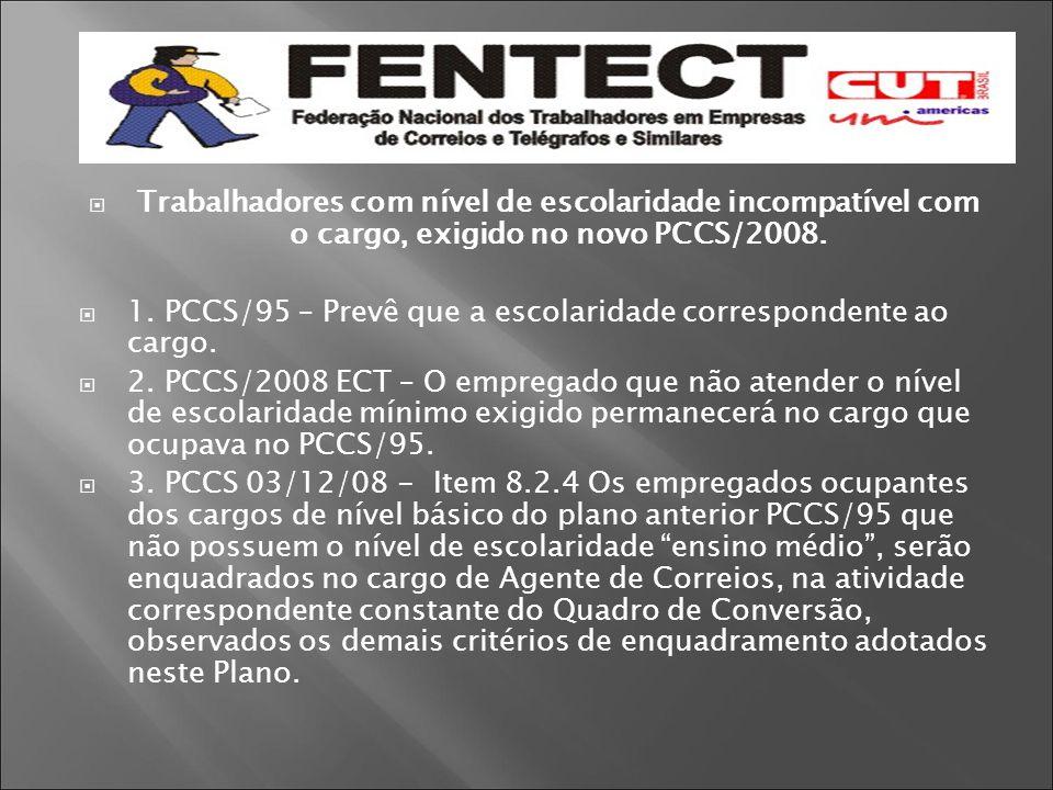  Trabalhadores com nível de escolaridade incompatível com o cargo, exigido no novo PCCS/2008.  1. PCCS/95 – Prevê que a escolaridade correspondente