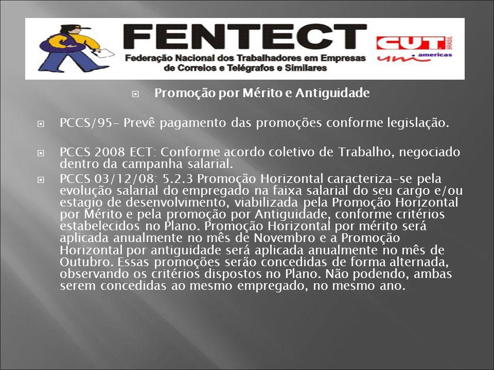  Promoção por Mérito e Antiguidade  PCCS/95- Prevê pagamento das promoções conforme legislação.  PCCS 2008 ECT: Conforme acordo coletivo de Trabalh