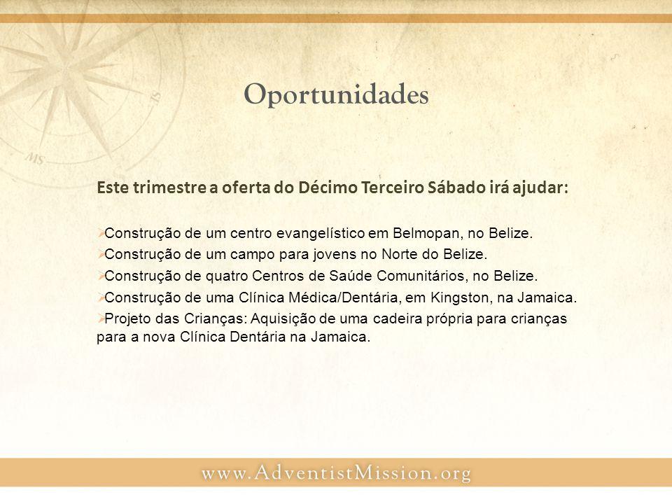 Oportunidades Este trimestre a oferta do Décimo Terceiro Sábado irá ajudar:  Construção de um centro evangelístico em Belmopan, no Belize.
