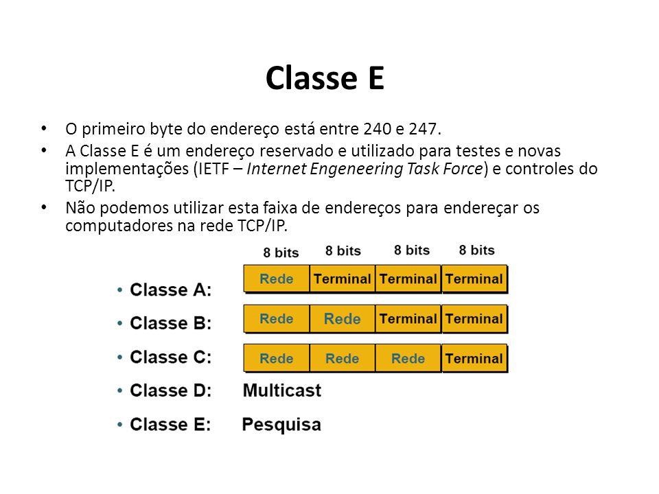 Classe E O primeiro byte do endereço está entre 240 e 247. A Classe E é um endereço reservado e utilizado para testes e novas implementações (IETF – I